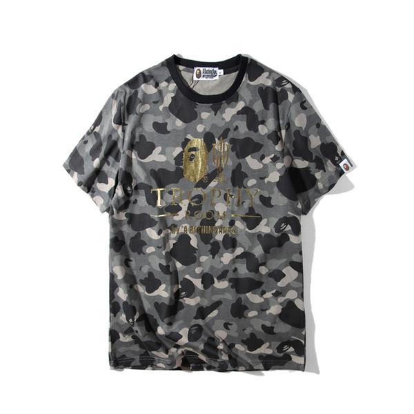 Camouflage dorure lettre loisirs homme t-shirts t-shirt t-shirt simple