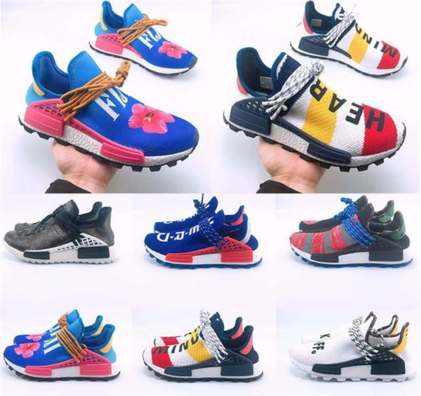 sale retailer eca69 72747 2018 Wholesale Human Race Hu trail casual Shoes Men Women Pharrell Williams  Yellow noble ink core Black Red outdoors Shoe with box size 5-13