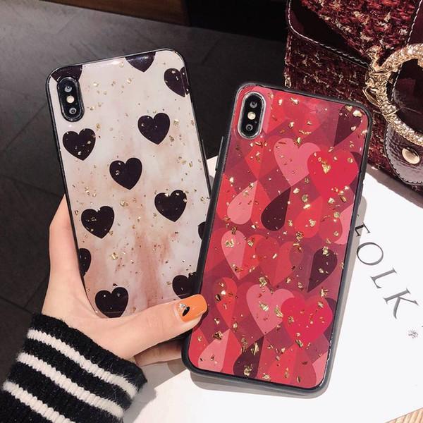 Glitter Leopard TPU Kılıf Baskı Arka Kapak Lüks bling Aşk kalp Kabuk Altın Folyo Iphone 7 8 Artı X XS Samsung Huawei Için MAXS