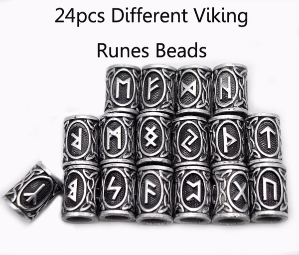 24pcs Top Silver Norse Viking Runes Charms Beads Findings for Bracelets for Pendant Necklace Beard or Hair Vikings Rune Kits