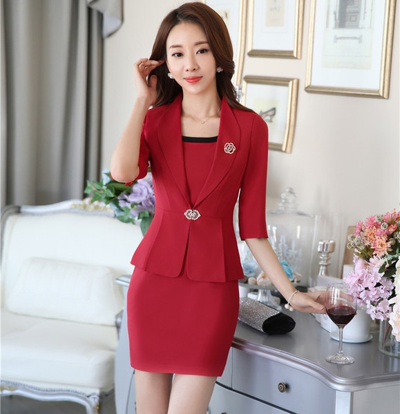 New Professional Formal Uniform Style Business Work Wear Suits Blazer And Dress Ladies Office Fashion Women Outfits Set S-4XL C18122601
