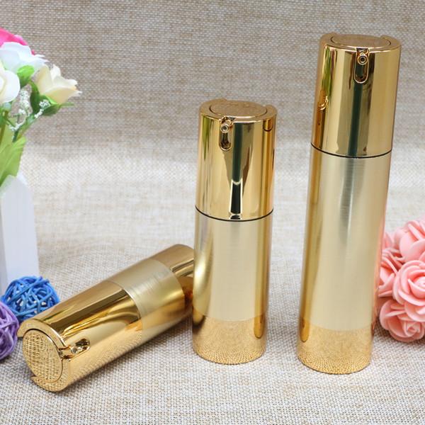 15 ml 30 ml 50 ml Ouro Top Quality Airless Garrafa de Vácuo Vazio Recipientes Cosméticos Embalagem para Maquiagem Líquida 10 pçs / lote