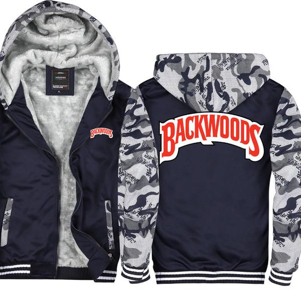 Camouflage Backwoods Cigarrillos Wiz Khalifa Casual Thicken Hooded Sweatshirts Cotton Zipper Hoodies Winter Cardigan Jacket Coat USA EU Size