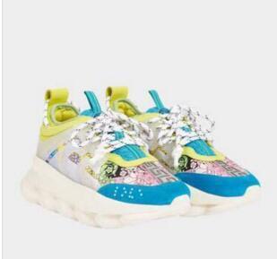 Lates de color! Diseñador de Reacción en Cadena Hombres zapatos casuales Mujer Entrenadores deportivos Moda Aumento de la altura Zapatos casuales Zapatillas kx163