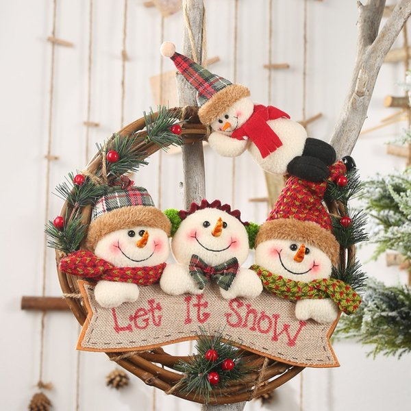Rattan Christmas Wreath With 4 Plush Dolls Front Door Garland Holiday Hanging Pendant Ornaments For Christmas Party Wall Decor