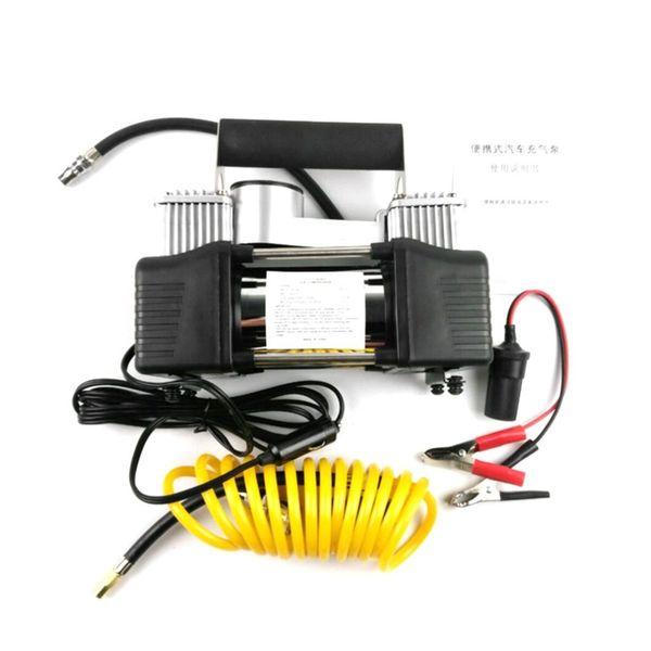 BY-261 12 V Inflator Pneu Do Carro Inflador De Pneu Duplo Cilindro Compressor de Ar De Metal Bomba de Ar de Alta Pressão com Ferramentas Mala