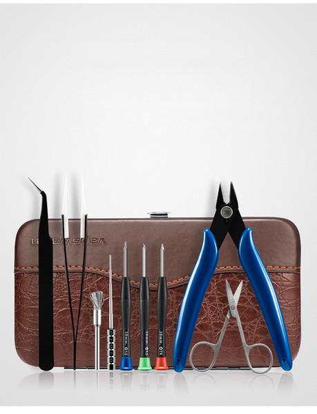 Vapswarm V3 Tool Kit Set pour Vape DIY RDA RBA Bobine de Construction Jig Allen Tournevis Ciseaux Pinces Brosse Brosse Sac de Transport en gros DHL
