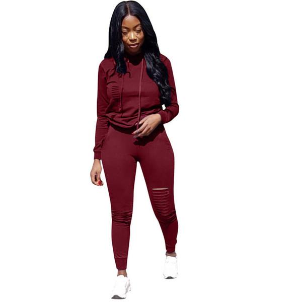 Осень Сплошной Черный Красный Женская Мода Повседневная Спортивный Костюм С Капюшоном С Длинным Рукавом Из Двух Частей Комплект Брючный Костюм Спортивные Костюмы