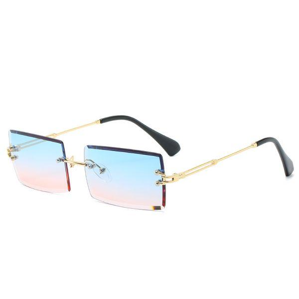 Оптово-Новая мода Rimless Зеркальные линзы тонкий металлический каркас мужчины женщины кристалл Безрамные солнцезащитные очки с чехлами и коробкой