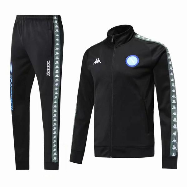 top popular 2019 Napoli Soccer jacket training suit 2018 2019 Naples HAMSIK L.INSIGNE MERTENS adult Full zipper football jacket tracksuit Sweater 2019