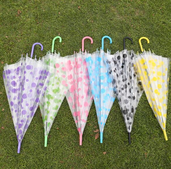 Polka Dots Trasparente Ombrello Raindrop Trasparente Danza Performance PVC Manico lungo Colorato Beach Pioggia Ombrellone Festa Nuziale Househol