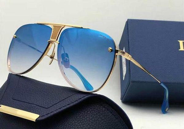 Новый модный дизайнер мужские солнцезащитные очки DECADE TWO квадратных оправ винтажный популярный стиль уф 400 защитные очки для наружного использования с чехлом