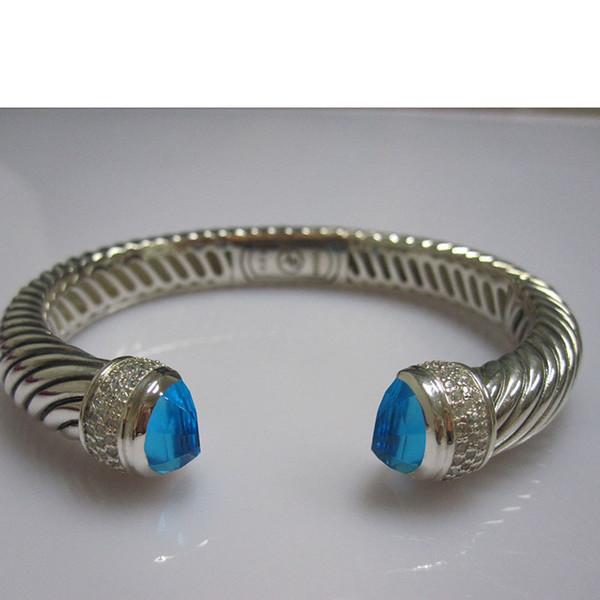 Браслет из стерлингового серебра 10 мм с гематитом, ювелирными украшениями Черный оникс Цитрин Празиолит Синий топаз Браслет