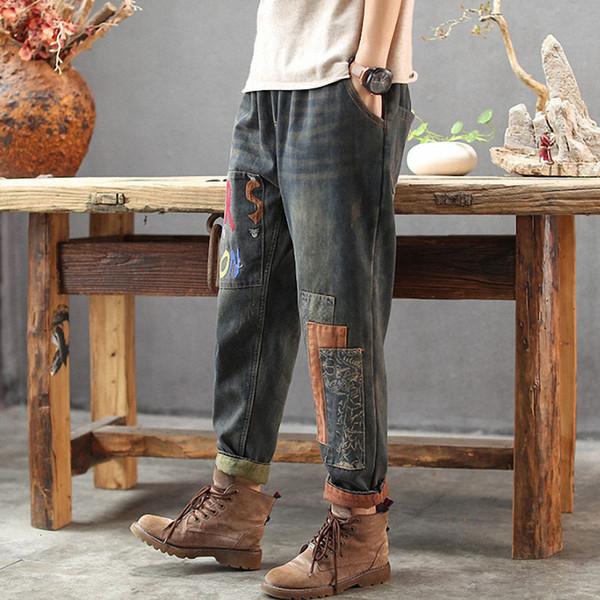 autumn winter ladies fleece jeans loose elastic waist plush denim pants female embroidery patchwork casual trousers 2020