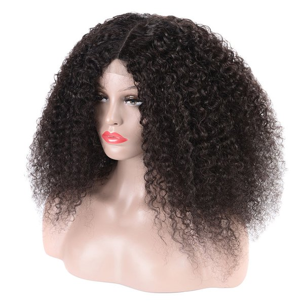 150% Density Kinky Curly Lace Front Wigs Human Hair Wigs with Baby Hair for Women Natural Color 8-18 inch