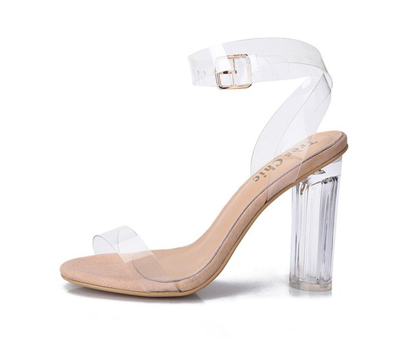 Newest Women Pumps Buckle Sandals High Heels Shoes Celebrity Wearing Simple Style PVC Clear Transparent Strappy GGX-011