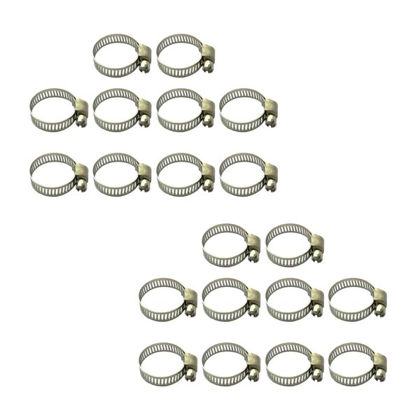 best selling 20Pcs Hose Clamp Including 16-25mm & 19-29mm Adjustable Pipe Tube Clamps 304 Stainless Steel Hose Clips