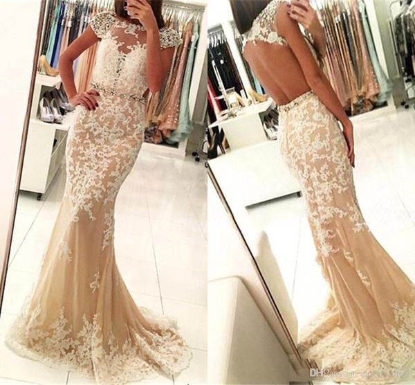 Robe De Soiree Elegante Champagne Mermaid Prom Dresses Cap Sleeves Lace Beaded Sexy Open Back Sheer Long Formal Evening Gowns BA6829
