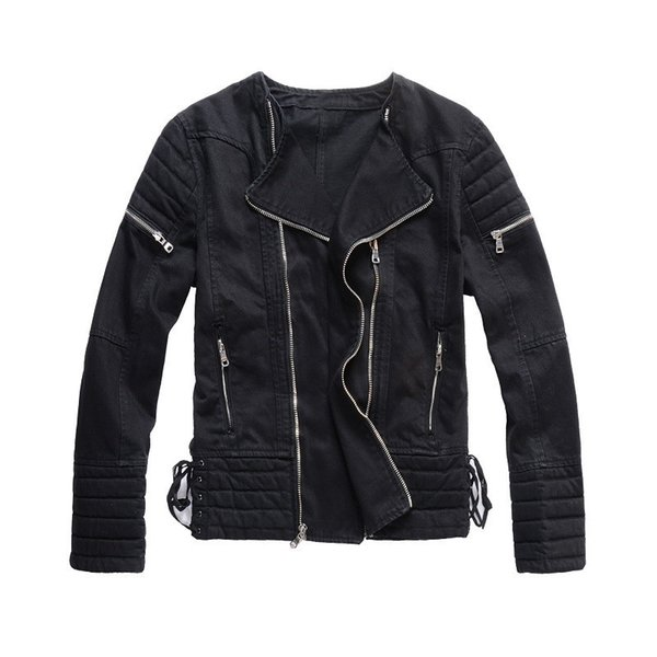 2019 Diagonal zipper Black men demin jackets outdoor crew neck vintage Frayed hip hop demin jacket