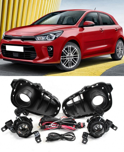 Car OEM Style Directly Replacement Fog Lamp Lights w/Bulb+Switch+Wire+Chrome Bezel/1Set For Kia RIO 2018 2019