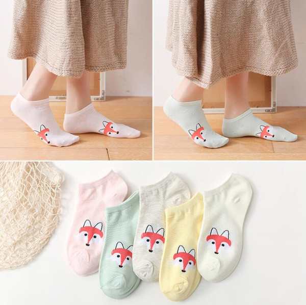 Wholesale Cute Fox Prints Women Short Socks Casual Low Ankle Sock Summer Spring Animals Funny Socks for Girls 10 Pairs