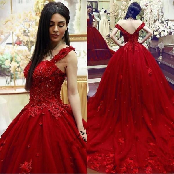 Nuovo Sweet 16 Quinceanera Ball Gown Lace 3D Appliques floreali in rilievo Masquerade gonfio vestito da sera lungo Abiti formali Abiti