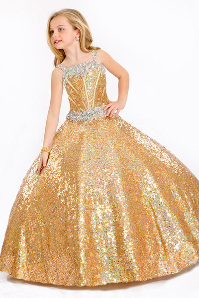 Compre Nuevo Vestido Dorado De Flores Para Niña Vestidos Para Niños Fiesta Formal De La Bola Fiesta De Graduación Vestido De Cumpleaños Tamaño