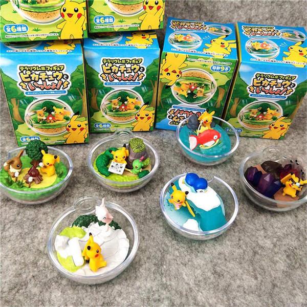6 Teile / los Anime Pokemons Pikachu Elf Ball Transparent Kristallkugel Box Verpackung PVC Action Figure Kinder spielzeug