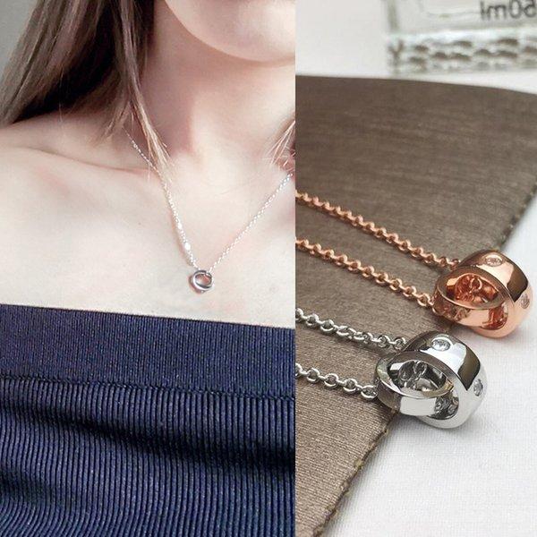 Paslanmaz Çelik Yüzük Elmas Aşk Altın Kolye Kolye Kadınlar için Kadınlar için Klasik moda tasarımcısı marka takı