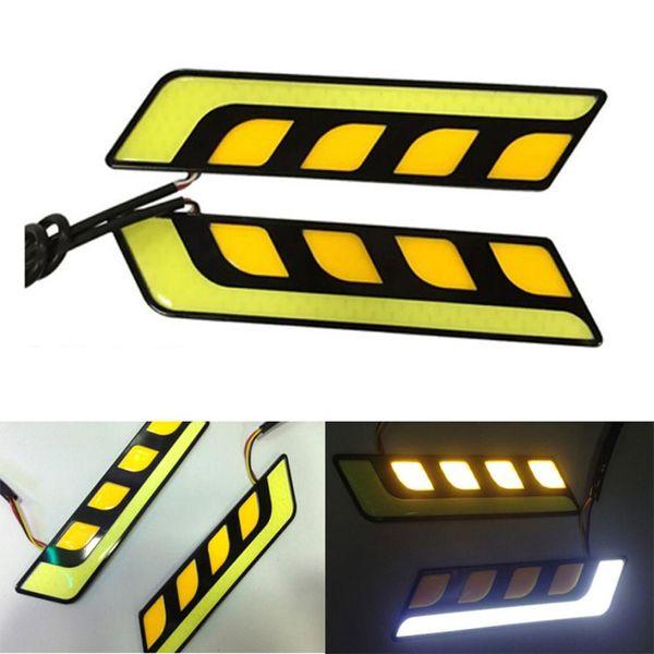 Car Styling Accessori auto 2 PCS luci diurne DRL COB LED Light Bar LED indicatori di direzione All In One fendinebbia