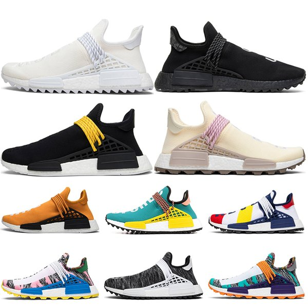 half off 7e180 8b529 Designer Human Race Equality Cream Running Shoes For Men Top Pharrell  Williams Black Nerd HU Human Being Women Sneakers 36 45 Shoes Running Boys  ...
