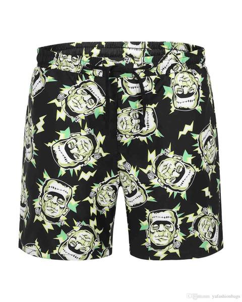 2019 Summer Designer Men Shorts with Letters Flat Sport Brand Beach Shorts Elastic Waist Fashion Luxury Short Pants for Mens Clothing