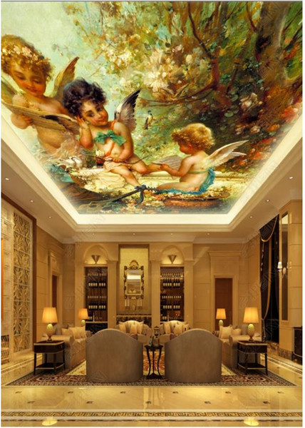Custom Large Ceiling Zenith Mural Photo Wallpaper Cute angel oil painting European style living room ceiling zenith mural decorative