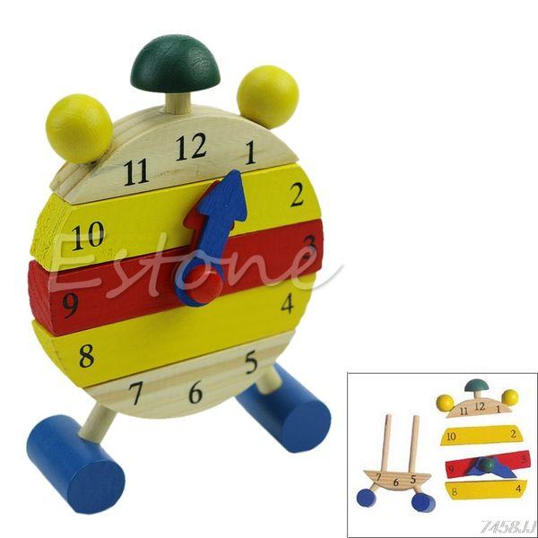 Baby Blocks Early Learning Building Niños Educativos Juguete de madera Reloj Nuevo # C60EY # Drop Ship