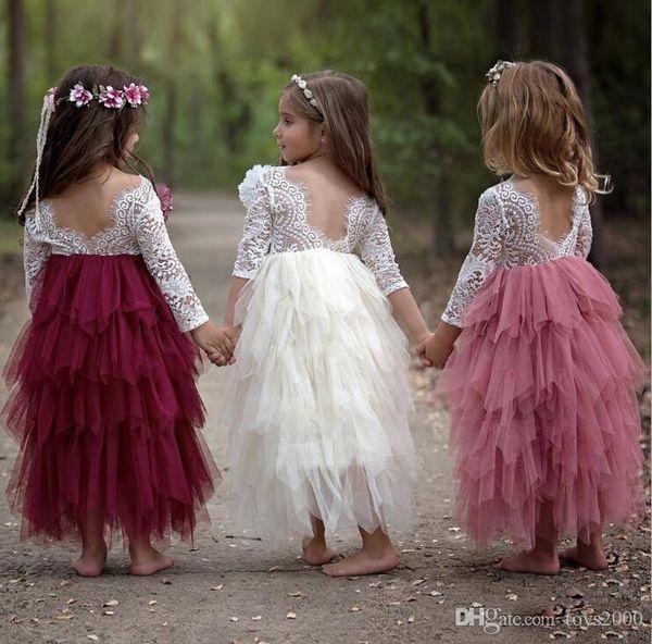 Лето Принцесса Backless Полого шнурок дети Тута девушка цветок для свадьбы партии Европы и Америка Детской одежды