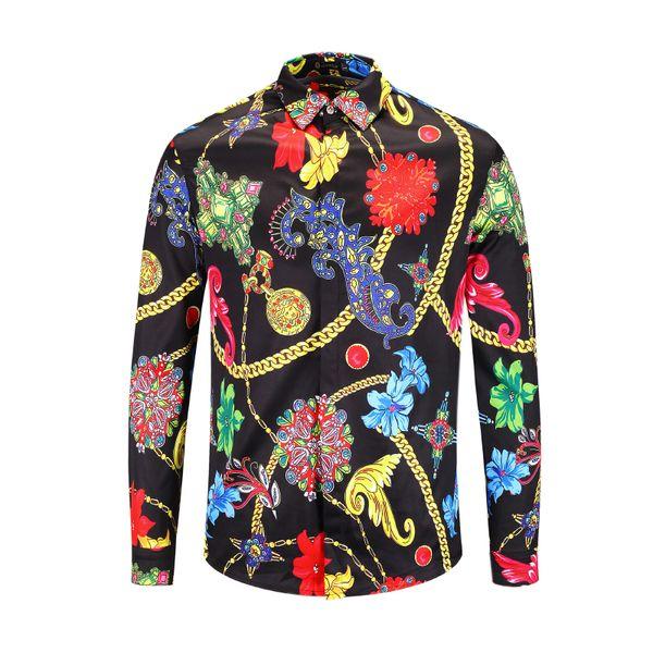 Mens Designer Frühling Herbst Shirt 3D Gedruckt Muster Langarm Shirt Floral Halskette Muster Männer Casual Business Baumwolle Freies Bügeln hemd