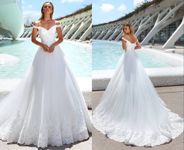 Discount 2020 Luxury Boho Wedding Dresses A Line Princess Open Back Tulle Lace Applique Off Shoulder Wedding Dress Bridal Gowns Cheap Custom Made