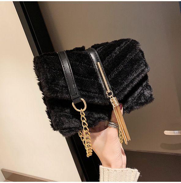 Moda Plush Faux Fur Sacos de Ombro Mulheres Cadeia Pequeno Flap Bag Feminina Bolsas de Inverno Senhora Crossbody Faux Fur Bag