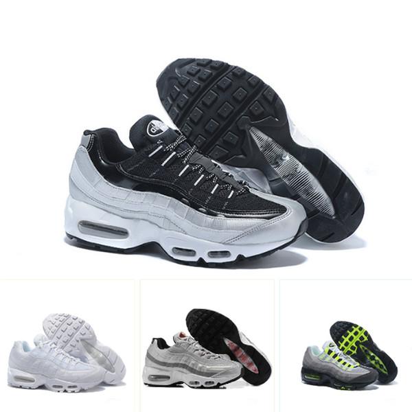 Acheter Nike Air Max 95 Chaussures De Course Running Shoes Tripel Blanc Noir Chaussures De Designer Pour Hommes Cushion GS Authentic Chaussures De