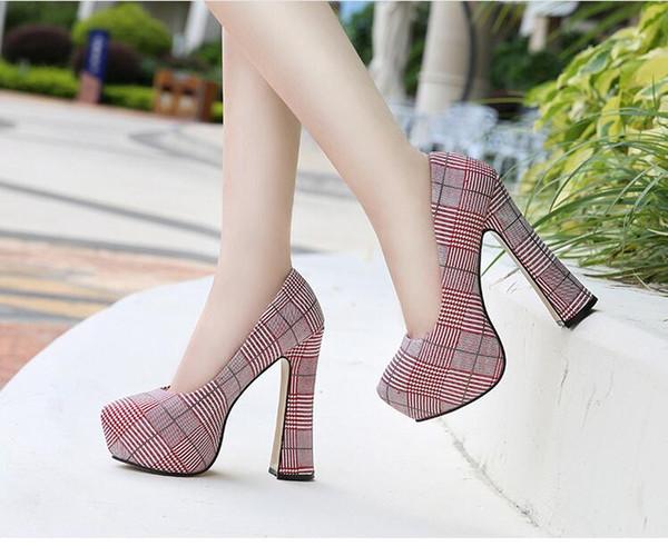 Women High Heels New Brand Platform Pumps Gladiator High Heels Female Wedding Party Heels Grid cloth Shoes Plus Size 35-45
