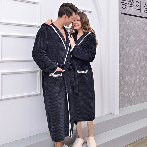 New Winter Couple Hooded Long Terry Bathrobes Men Women Home Wear Warm Bath Robes Chinese Factory Direct Dressing Gown