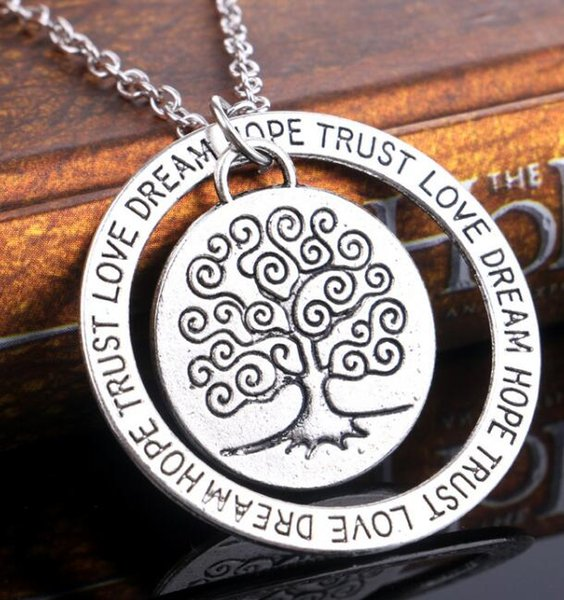 Antique Silver Life Tree Necklace Circle Engraved Dream Hope Trust Pendant Necklace for Women Inspire Jewelry Mother's Day Friendship Gift