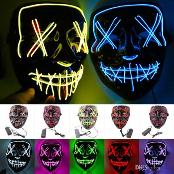DHL Halloween LED Light Up Mask Many Options Party Cosplay Masks The Purge Election Year Funny Glow In Dark Horror Masks