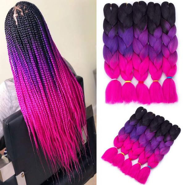 24 polegadas Ombre enorme preta fazer tranças no cabelo extensões três cores Kanekalon Synthetic Jumbo tranças Xpression Crochet cabelo 5pcs torção 100g / lot