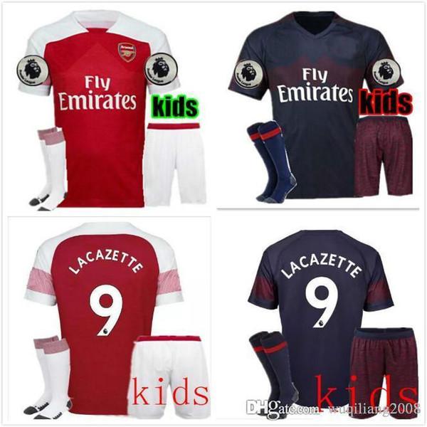 KIT adulto 2018 2019 camiseta de fútbol Arsenal AUBAMEYANG LACAZETTE inicio  OZIL MKHITARYAN 18 19 XHAKA 0128b4be260f4