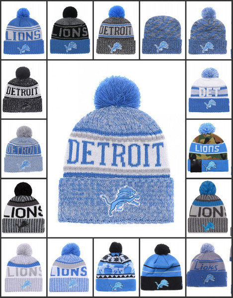 34744d3d8929c Wholesale Detroit Sport Winter Hats Lions Stitched Team Logo Brand Warm Men  Women Hot Sale Knitted Caps Cheap Mixed Beanies