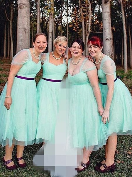 2019 Mint Green Plus Size Bridesmaid Dresses With Sleeves Pleats Purple  Sashes Tulle Party Country Wedding Guest Dress Maid Of Honor Gowns  Strapless ...