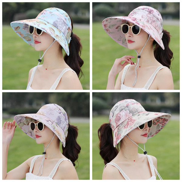 Floral Sun Visor Hats 5 Colors Women Summer Wide Brim UV Protection Cap Outdoor Beach Ponytail Hats 120pcs OOA6602