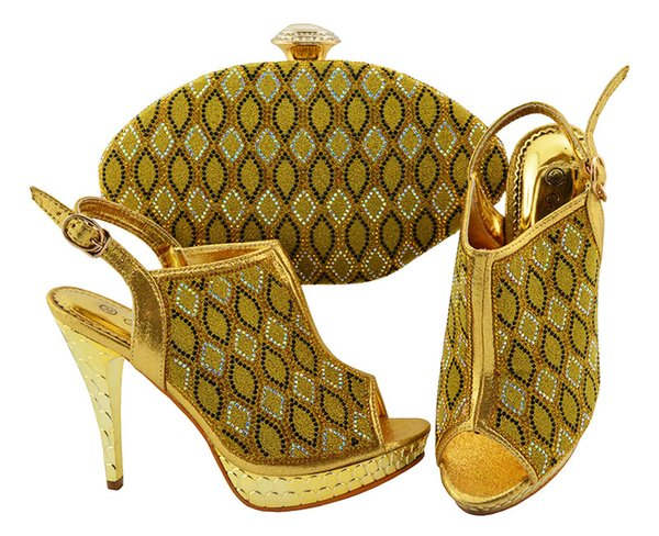 Gold Summer Italian Matching Shoes and Bag Set Wedding Ladies Italian Shoes and Bag Set Decorated with Rhinestone JZC003