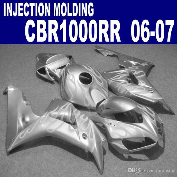 HONDA Enjeksiyon kalıp için kaporta kiti CBR1000RR 06 07 CBR1000 RR 2006 2007 gümüş plastik kaporta VV79